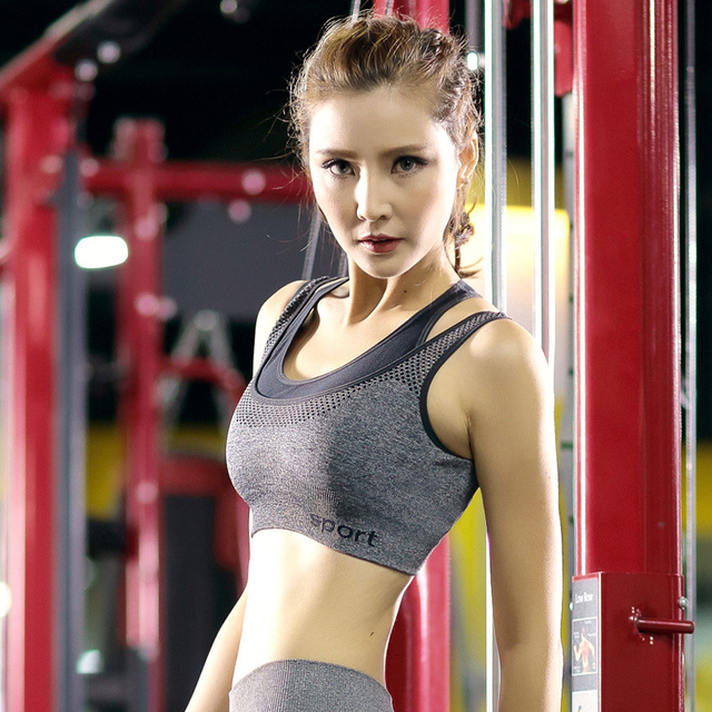 DeRuiLaDy Push Up Women Bra Wire Free Shockproof Padded Bra Women Underwear Workout Fitness Bra Round Neck Vest Crop Top