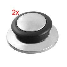 CSS Новый 2 Шт. Посуда Черный Серебряный Тон Закаленное Стекло Пот Пан Крышка Ручка