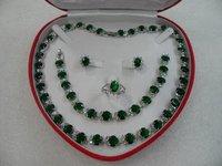 Wonderful Nobility Fine Wedding Jewelry Lucky Women's Bridal silver green Zircon crystal necklace bracelet ring earring set