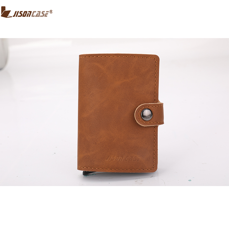 Jisoncase Card ID Holders Leather Hasp Minimalist Small Aluminium Cards Holder Wallet For Man Woman Wallets Purse 2018