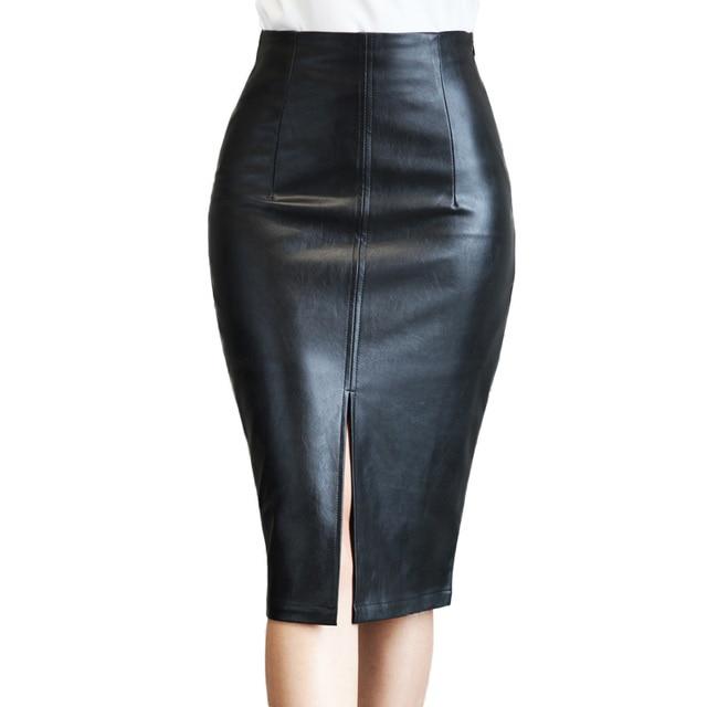 73bfab9f3deb Faux Leather Pencil Skirt 2018 Summer High Waist Black Pu Tight Midi Skirts  Women Casual Korean Style Knee Length Plus Size 5Xl