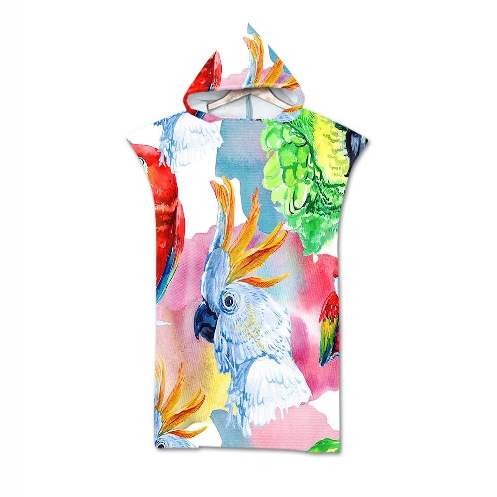 Methodisch Lannidaa 3d Digital Printing Papegaai Hooded Handdoek Wearable Badhanddoek Voor Volwassenen Flamingo Tropische Reizen Microfiber Strand Handdoeken Rillingen En Pijnen