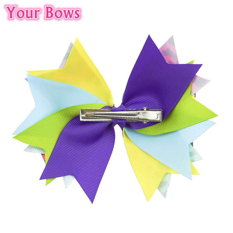 Your Bows 1PC 5.5 Inch Rainbow Leopard Girls Hair Bows Polyester Bows - Accesorios para la ropa - foto 6