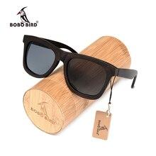 Bobo bird óculos de sol polarizado, óculos de sol madeira de ébano marrom cinza uv400, feito à mão
