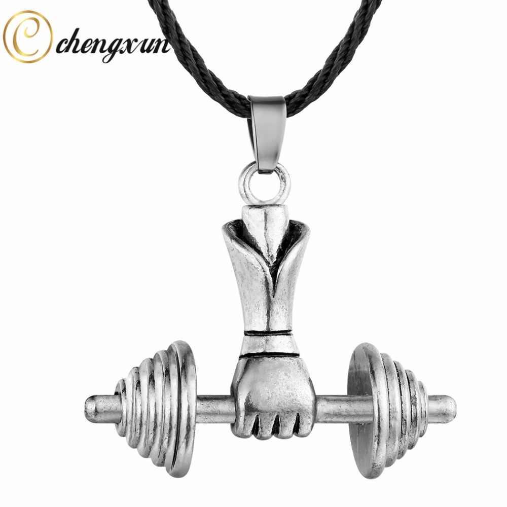 CHENGXUN Hip Hop naszyjnik silne mężczyzn schłodzić zawieszki hantle sztuczna biżuteria łańcuch liny czarny kołnierz dla miłośnika sportu