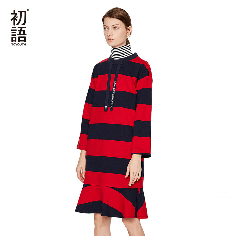 Toyouth Cotton Long Women Dresses Loose Striped O Neck Winter Dress Knitted Embroidery Ladies Dresses Ruffles