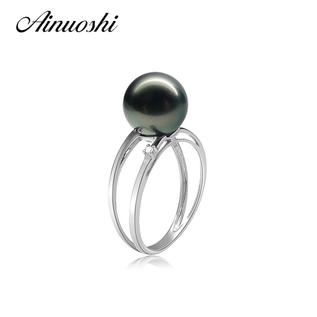 AINUOSHI Fashion Women 925 Sterling Silver Rings 9.5-10mm Natural Tahitian Cultured Pearl Round Pearl Engagement Wedding Rings