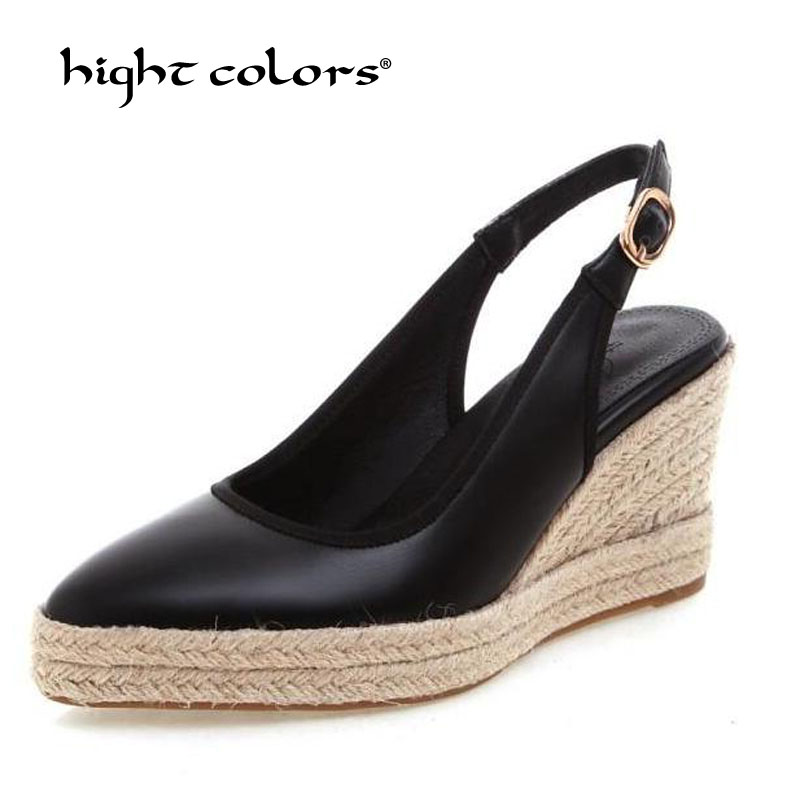 Summer 2019 One Word Buckle High Heels 8cm Wedge Shoes Pumps Women High Quality Platform Shoes Female Sexy Plus Size 40 41 D 845-in Women's Pumps from Shoes    1