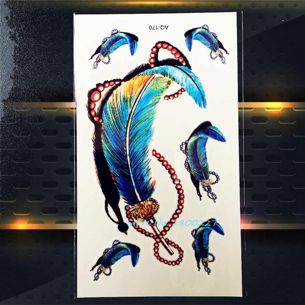 1 CÁI Đầy Màu Sắc Peacock Feather Bracelet Thiết Kế Dán Hình Xăm PAQ-170 Màu Xanh ấn độ Lông Xăm Tạm Thời Dán Sexy Phụ Nữ Trang Trí Nội Thất