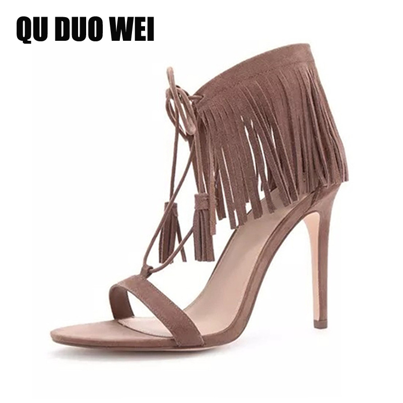 2018 new fashion tassel women sandals ankle strap summer shoes open toe extreme high heels shoes woman pumps plus size 34-43 plus size 34 43 new summer shoes woman open toe women ankle strap wedges sandals casual low heel sandals women sandals