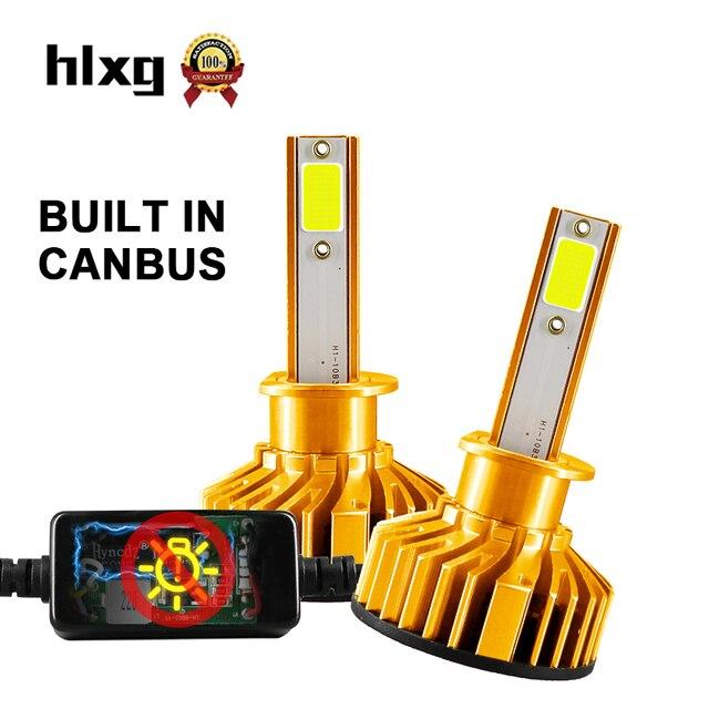 HLXG 2 pièces Mini Taille H1 led Voiture ampoules de phare 4300 K 10000LM 50 W feux avant phare de voiture Plug & Play Avec muet Ventilateur