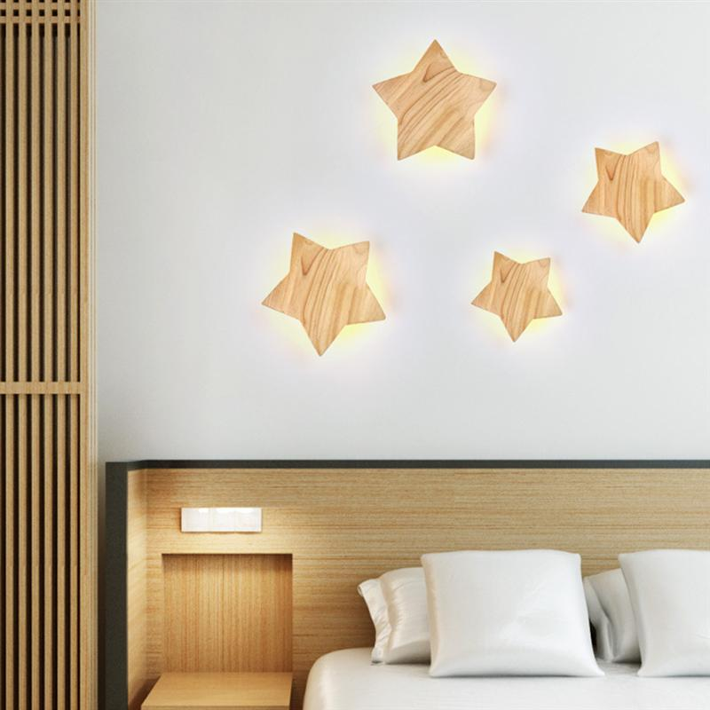 LED Star Wall Lamp Wooden Night Light Bedside Lamp for Kids Baby Corridor Bedroom Living Room Aisle Decoration Warm Light lediary cute dinosaur led night light 3 colors decoration lamp warm white christmas night lights animal bedside lamp for kids