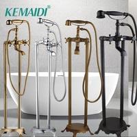 KEMAIDI золото/хром/черный/Antiue латунь напольные телефон Стиль на когтеобразных ножках для душа и ванной кран смеситель для ванны с душем