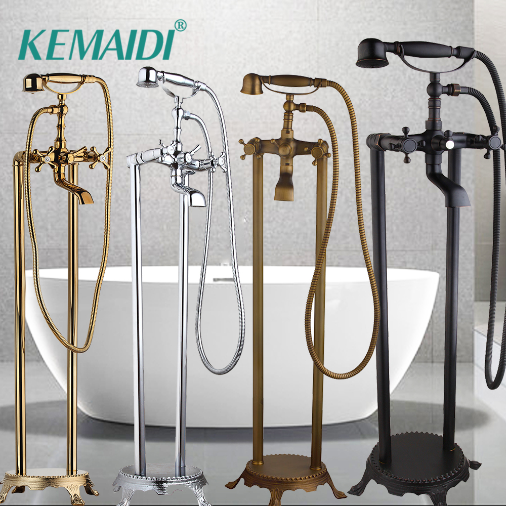 KEMAIDI Gold/Chrome/Black/Antiue Brass Floor Standing Telephone Style Clawfoot Bath Shower Faucet Set Shower Bathtub Faucet