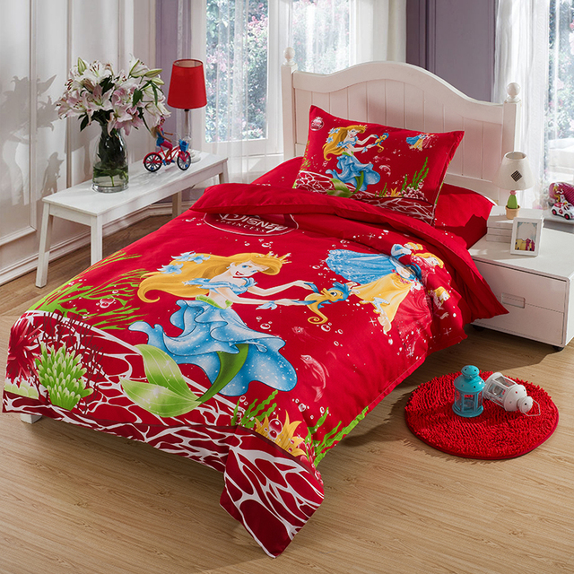 Mermaid Princess Comforters And Quilts Red Bed Sheets Designer