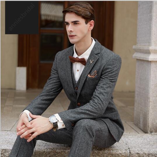 dd04fed3cccf 2017 последние пальто брюки конструкции для серый Твид жениха мужской  костюм Slim Fit 3 предмета смокинг на заказ Блейзер Костюмы для выпускного .