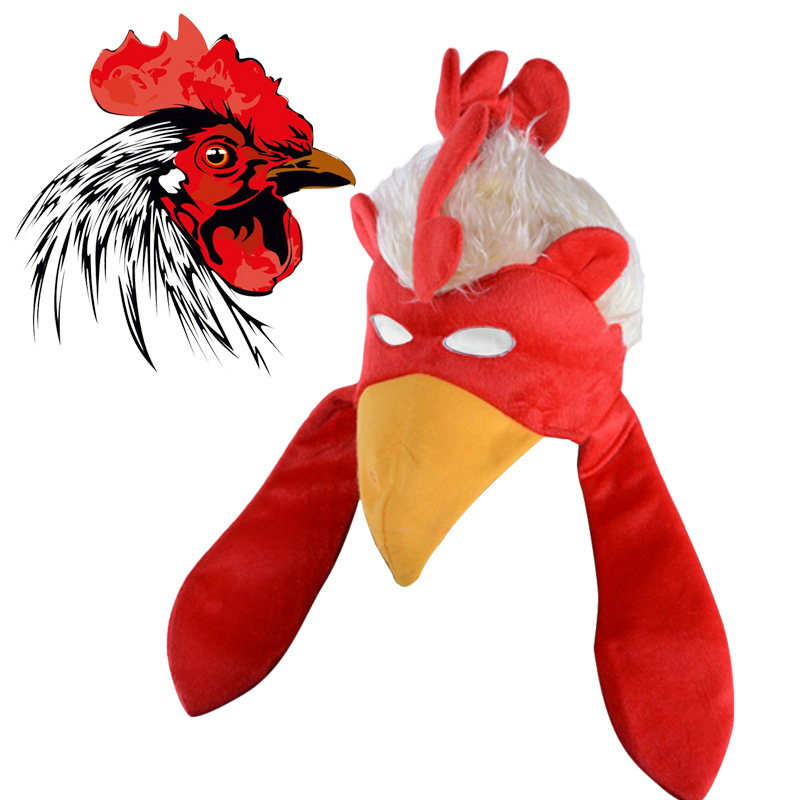 Funny Cap Cosplay Thanksgiving Turkey Hat Red Cock Comb Head Accessories Cartoon Lovely Chicken Easter Stage Show Party Carnaval