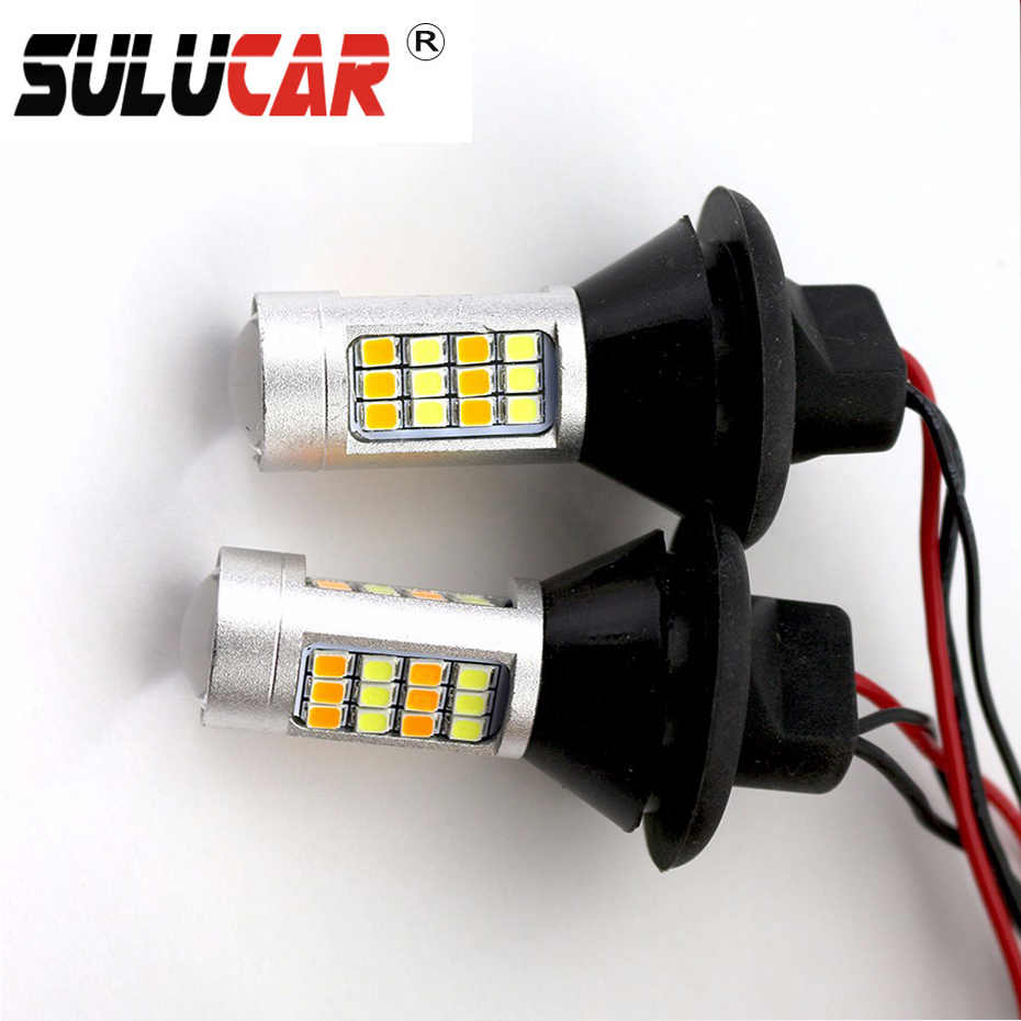 SULUCAR LED 1156/T20 Car LED Daytime Running Light+Turn Signal Bulbs Dual Mode  Canbus Error Free Car Auto Front Side Lamps