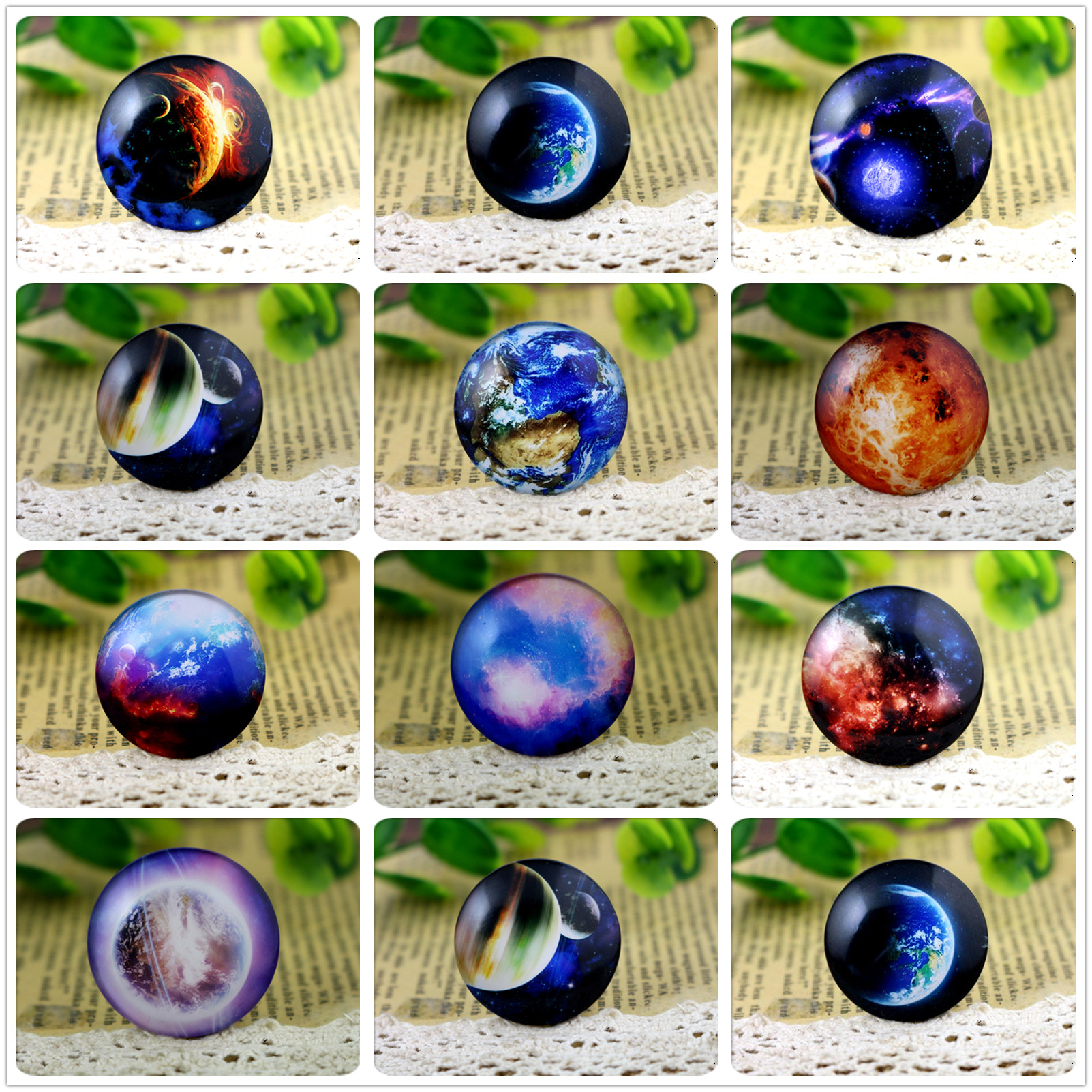 Hot Sale 3pcs 30mm Handmade Photo Glass Cabochons (Moon Nebula series)Hot Sale 3pcs 30mm Handmade Photo Glass Cabochons (Moon Nebula series)