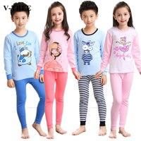 Autumn Winter Girls Pajamas Long Sleeve Boys Sleepwear Cotton Pyjamas Children Cartoon Minions Kids Pajama Sets