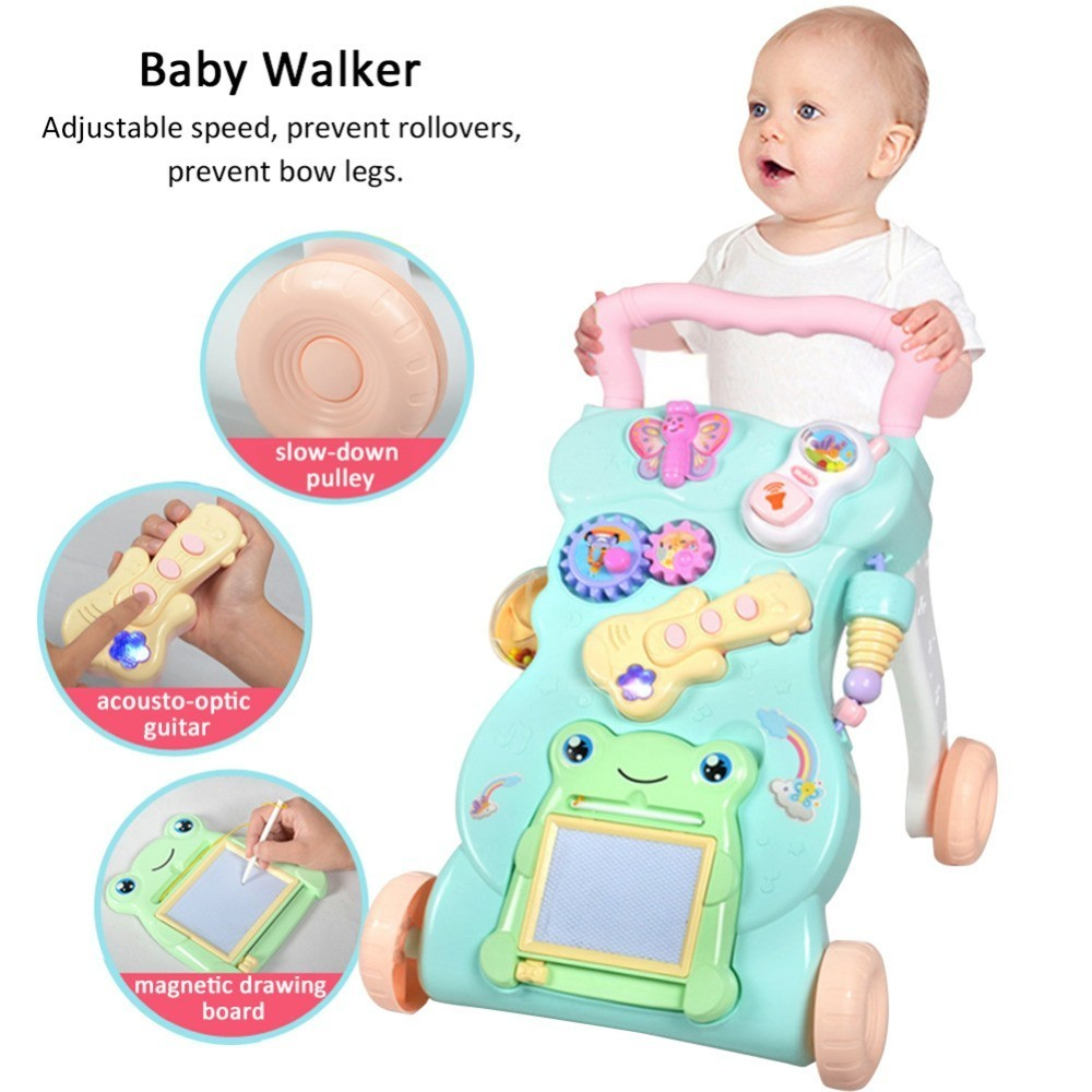 Baby Four Wheel Balance First Steps Adjustable Screw Car Early Educational Music Kids Walker Toddler Trolley Sit-to-Stand Walker цены онлайн
