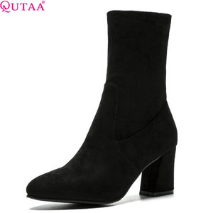 Image 1 - QUTAA 2020 Women Mid Calf Boots Platform Sock Bootd Winter Shoes All Match Pointed Toe Women Motorcycle Boots Big Size 34 43
