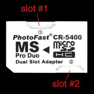 50pcs/lot Wholesale Photofast Dual MicroSD TF to MS Pro Duo Adapter up to micro sd card 64GB