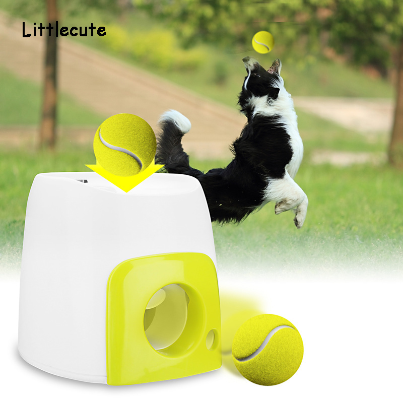 Pet Dog Toy Automatic Interactive Ball Launcher Tennis Ball Rolls Out Machine Launching Fetching Balls Dog Training Tool in Dog Toys from Home Garden