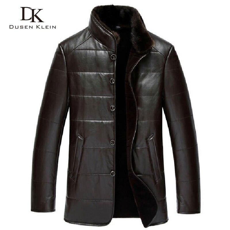Дюсенов Klein зимние Кожаная куртка овчины шерсть лайнер норки воротник люксовый бренд пальто черный/коричневый 15j1386