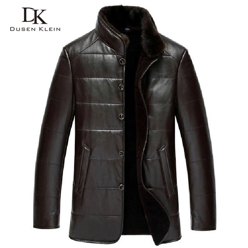 Dusen Klein Winter Leather jacket sheepskin wool liner mink fur collar luxury brand coats Black/Brown 15J1386