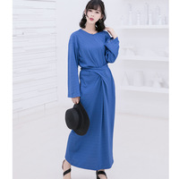 2017 Autumn And Winter Women Long Dress New Korean Style Retro Long Sleeve Solid Color Women