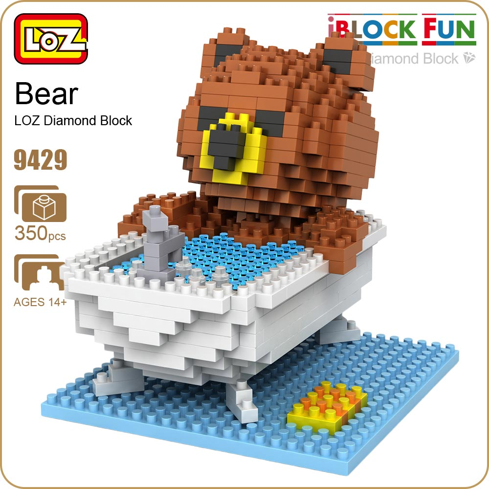 LOZ Diamond Blocks Brown Bears Bathroom Bathtub Gift Series Micro Block Cartoon Toys Creative Bricks Building Blocks MOC 9429 loz 9402 transformation optimusprime diamond bricks minifigures building block best legoelieds toys