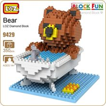 LOZ Diamond Blocks Brown Bears Bathroom Bathtub Gift Series Micro Block Cartoon Toys Creative Bricks Building