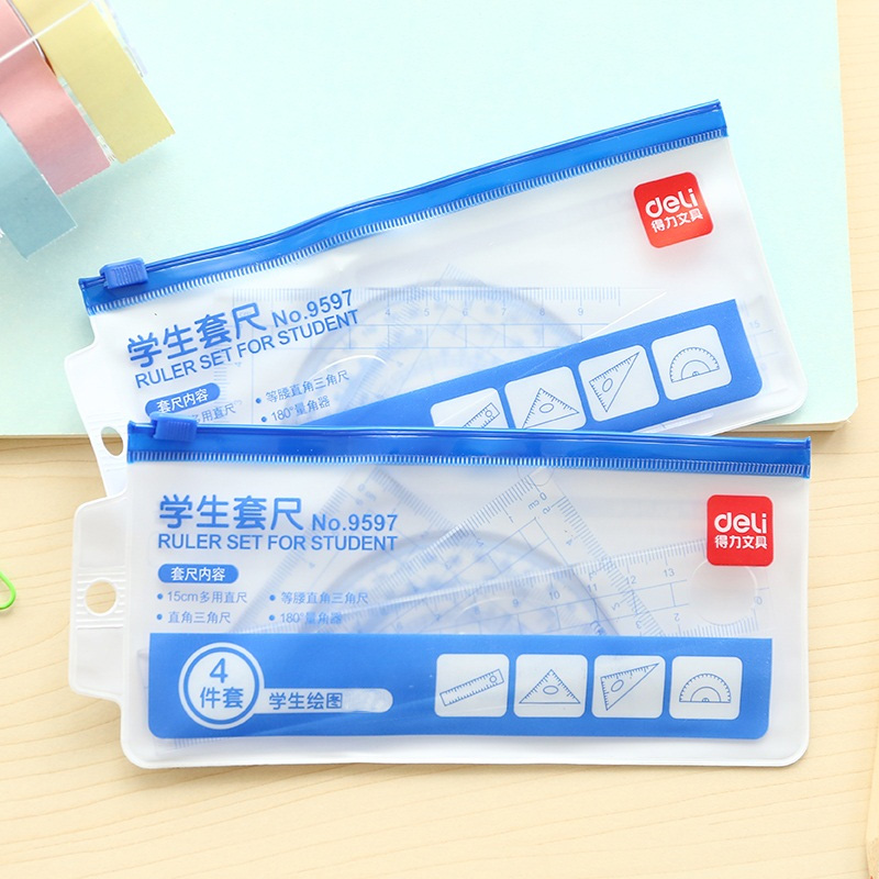 Effective Stationery Ruler Set Straight Ruler + 2 Triangle Rulers + Protractor = 4 Pcs Set Student Supplies Math Set