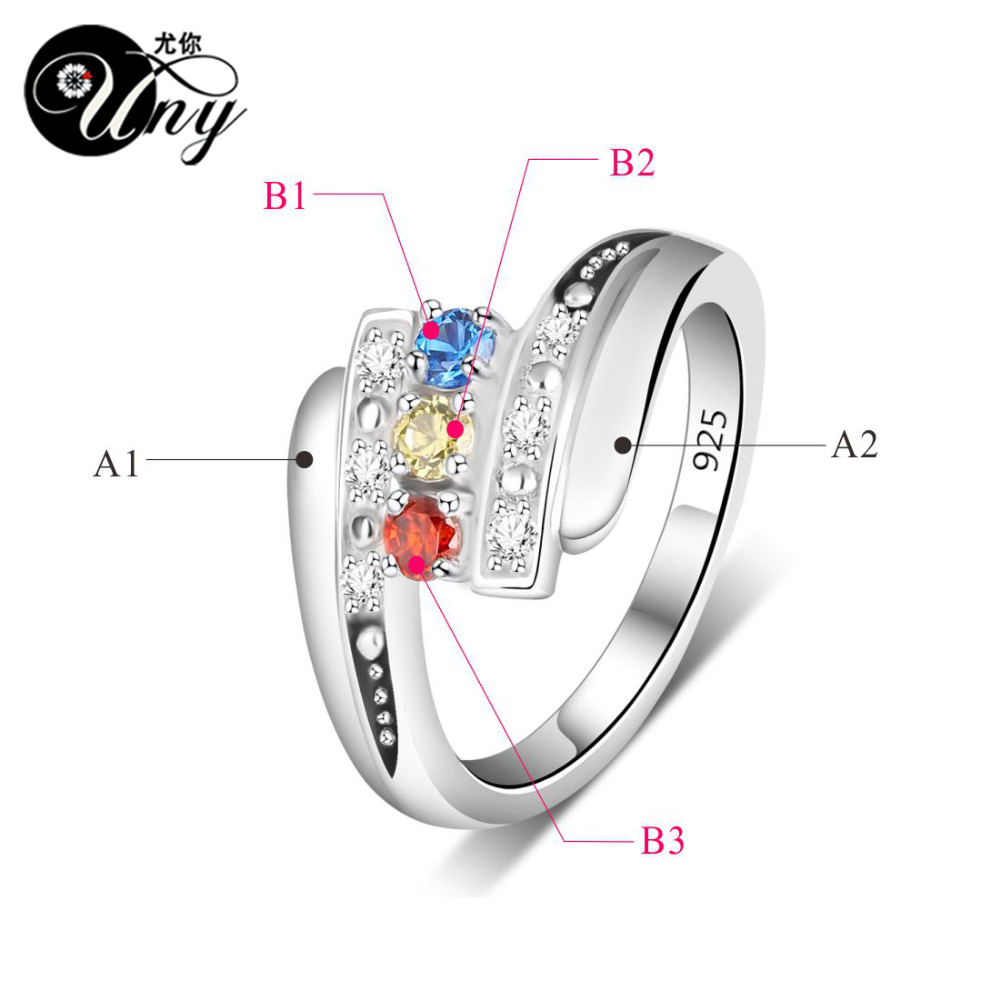 Uny Ring Mother Personalized Rings Anniversary Gifts Birthstone 925 Silver Customized Engrave Family Heirloom Promise In From Jewelry