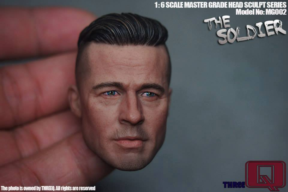 Furious Brad Pitt 1/6 soldier head carved THREEQ, MG  Head Sculpture Model brad booker