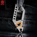 NY EDC Outdoor Pocket Tool Titanium Auto Sleutelhanger Custom Belettering multifunctionele Auto Hanger Mechanische Sleutelhanger