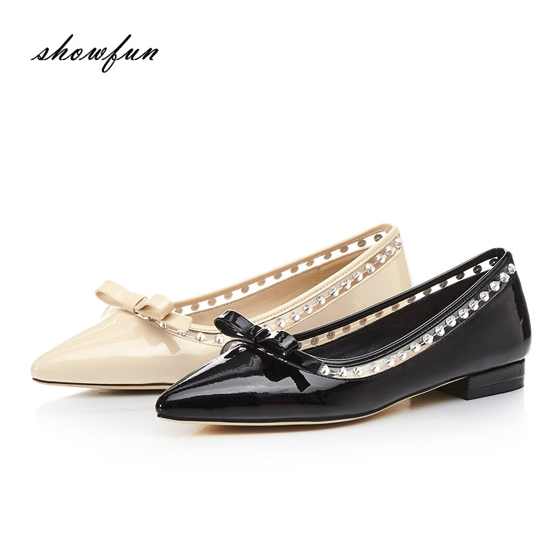 Women's Genuine Leather Pointed Toe Slip-on Flats Brand Designer Sweet Bowtie Rhinestones Korean Style Flats Shoes for Women Hot spring summer women leather flat shoes 2017 sweet bowtie flats women shoes pointed toe slip on ladies shoes low heel shoes pink