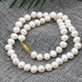 Hot sale 8-9mm white natural cultured freshwater pearl beads elegant necklace for women charms choker chian jewelry 18inch B3187
