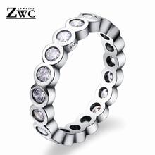 ZWC простое модное изысканное однорядное круглое циркониевое кольцо для мужчин и женщин для свадебной вечеринки высокое качество Кристальное кольцо