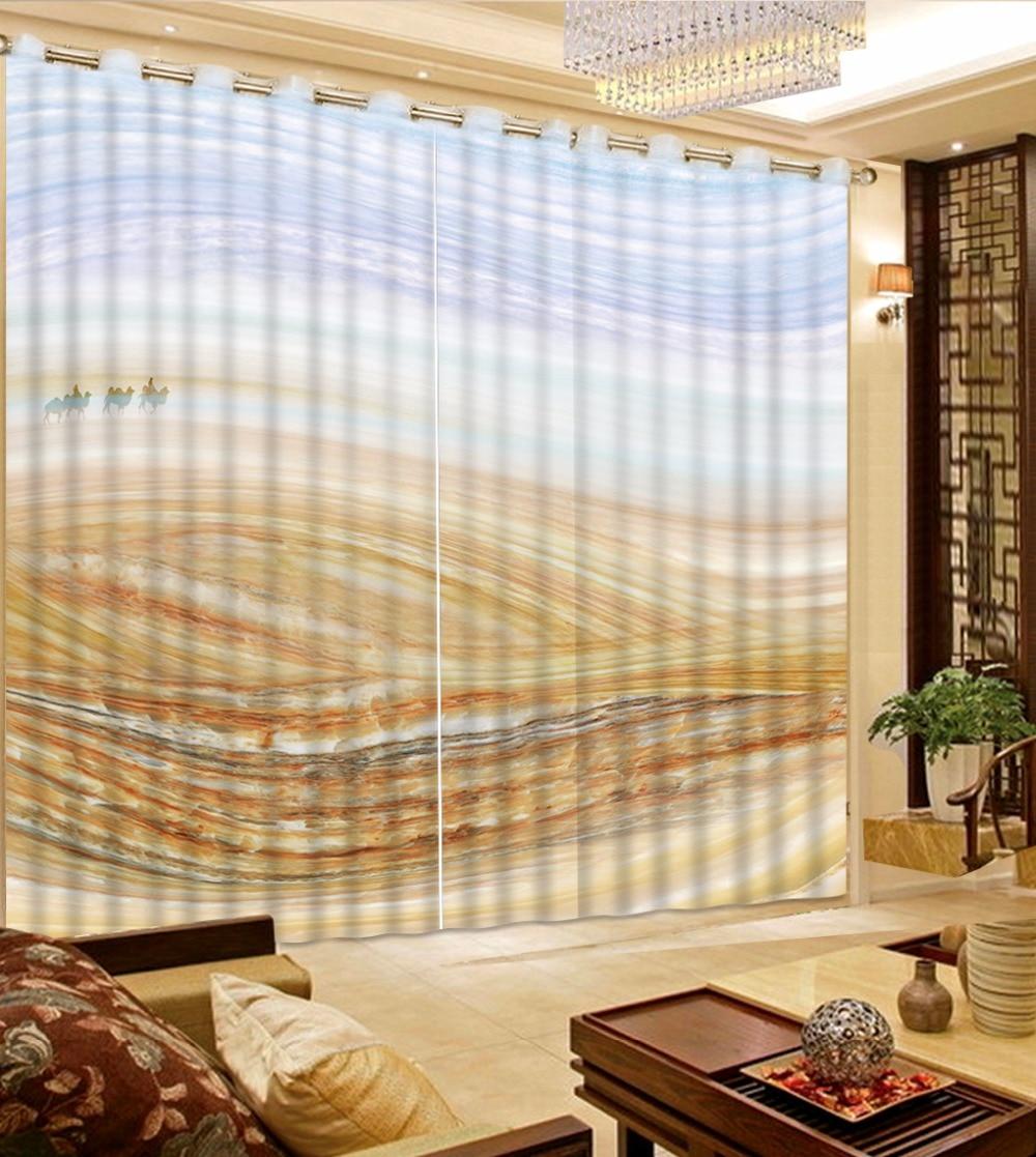 Grand désert pure rideaux moderne salon rideaux occultant fenêtre rideau pour enfants Polyester/coton 2 pièces rideaux
