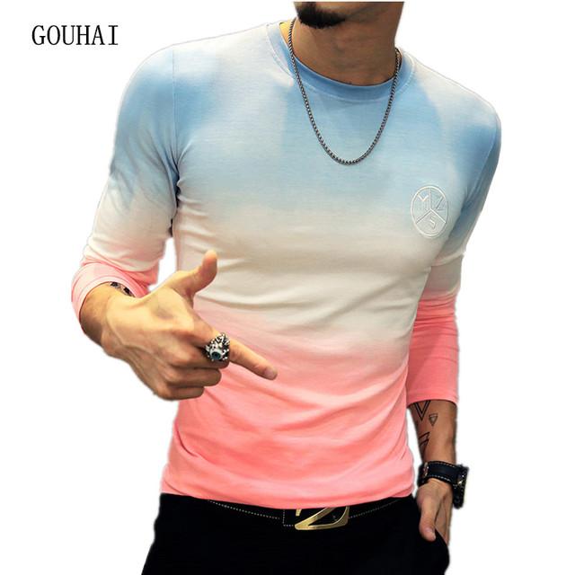 2017 Primavera Homens de Manga Comprida T camisas de Impressão Dos Homens De Fitness Camiseta Homme Camisa Masculina T-shirt Ocasional dos homens Plus Size M-5XL