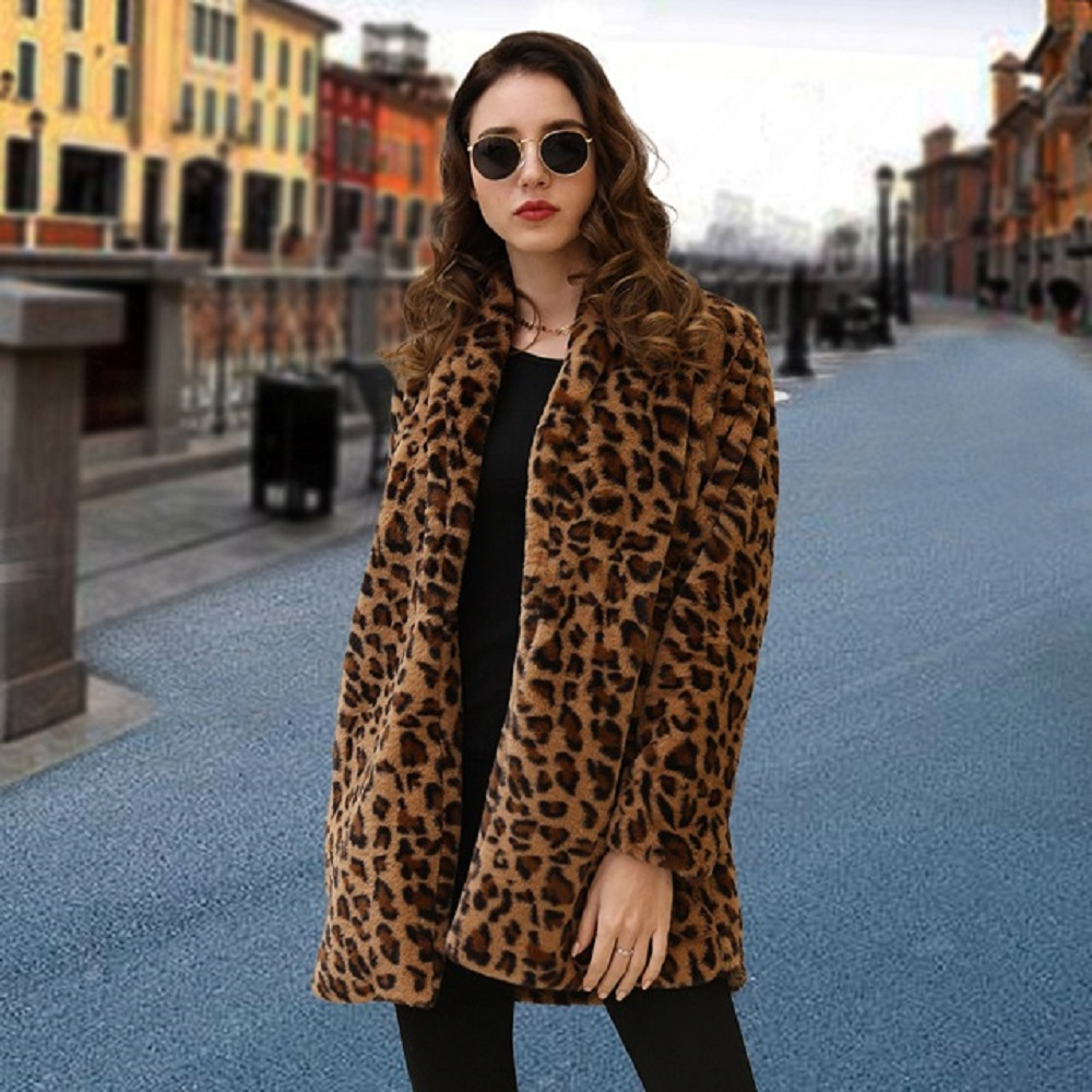 Women Faux Fur Coat Streetwear Autumn Winter Warm Plush Teddy Coat Long Leopard Print Luxury Fake Fur Jacket Fur Coat Jackets