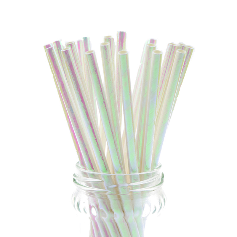 Image 5 - 25pcs/lot Pearl Rainbow Iridescent Paper Straws Kids Birthday Wedding Decoration Bridal Shower Party Drinking Paper Straws DIY-in Disposable Party Tableware from Home & Garden