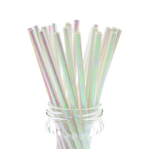 Image 5 - 25pcs/lot Pearl Rainbow Iridescent Paper Straws Kids Birthday Wedding Decoration Bridal Shower Party Drinking Paper Straws DIY