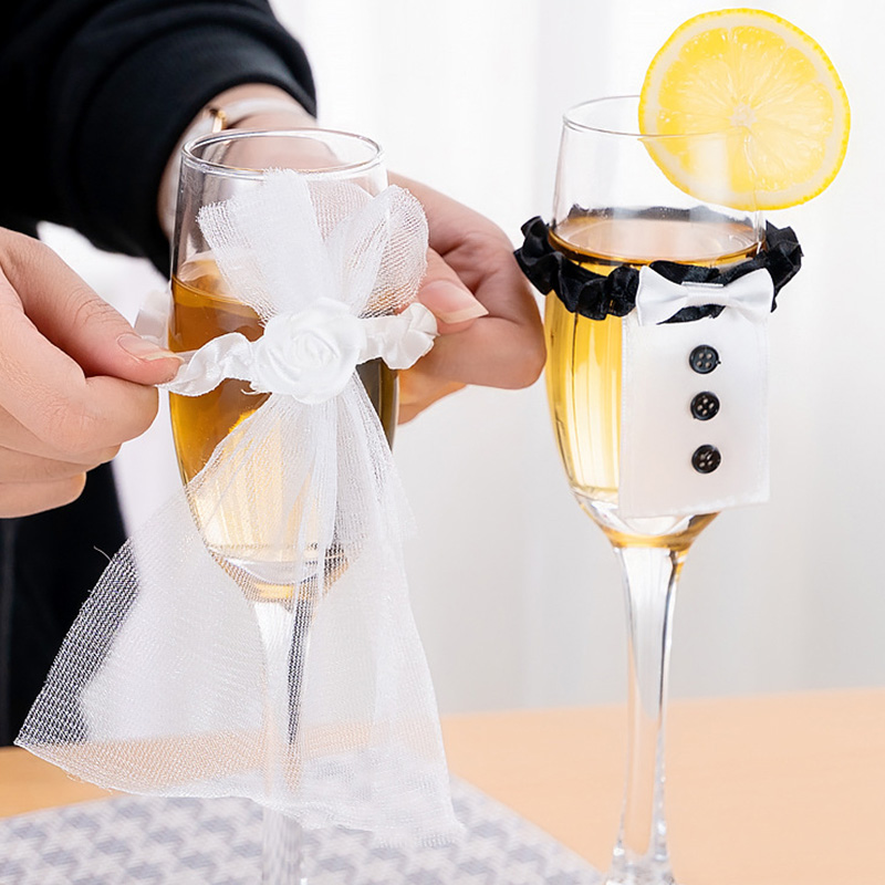 Wedding Wine Glass Cups Set Covers Bride Groom Costume Glass DIY Decoration Festival Party Holiday Cup Accessories Gadgets
