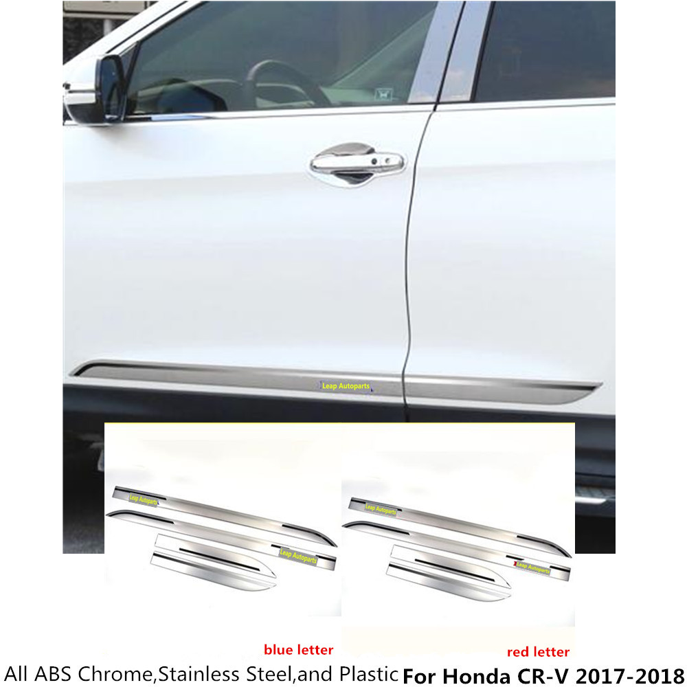 Free shipping Car ABS chrome Side Door trim Strip Molding Stream lamp panel bumper 4pcs/set part For Honda CRV CR-V 2017 2018 car styling abs chrome body side moldings side door decoration for hyundai ix35