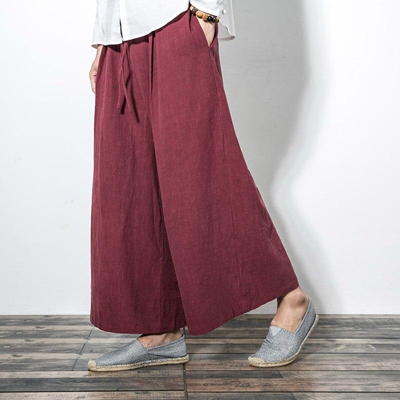 Männer Streifen Beiläufige Baumwolle Leinen Hose Lose Mode Breites Bein Hose Rock Hosen Männlichen Frauen Japanischen Kimono Stil Hose