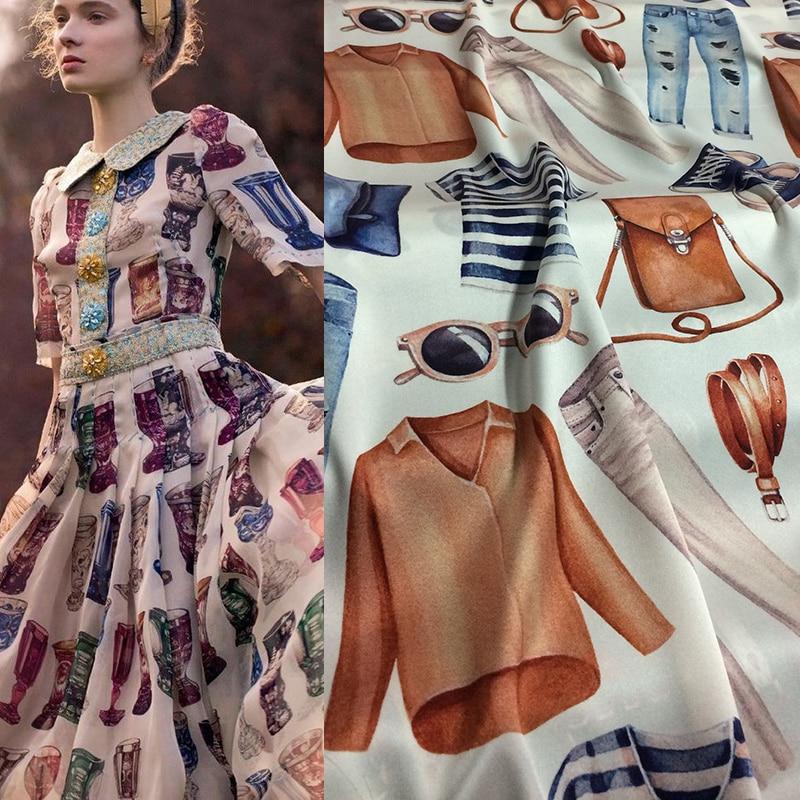 22 ミリメートル 95% 天然シルク 5% スパンデックスファッション服プリントシルク弾性染色生地夏のスカートシャツドレス DIY 布 RR003  グループ上の ホーム&ガーデン からの 生地 の中 1