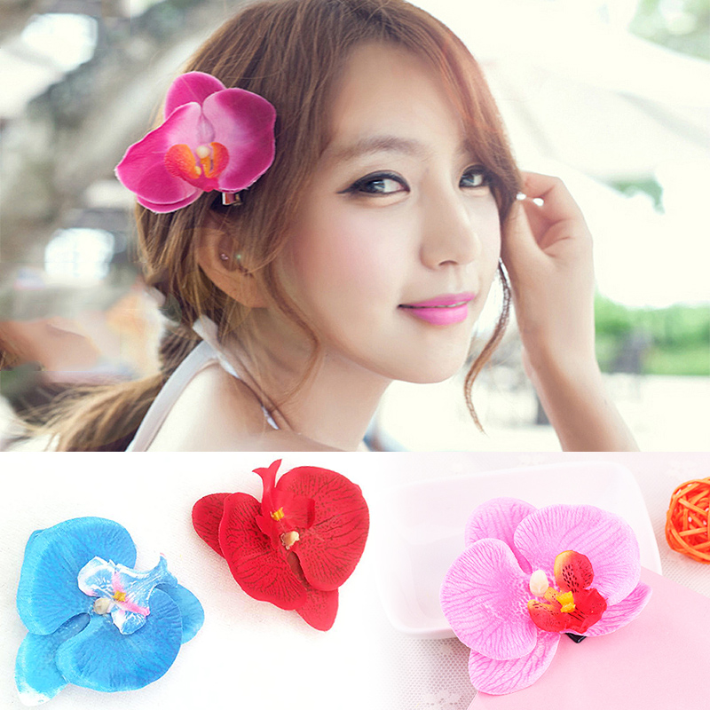 1PC Wedding Artificial Butterfly Orchid Hairpin Summer Style Sunny Bright Plumeria Flower Foam Hair Clips Barrettes Headwear
